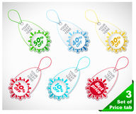 Set of six color snowflake  price tags Royalty Free Stock Images