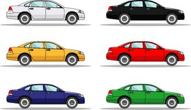 Set of six colored cars isolated on white. Detailed illustration of six colored cars in a flat style Stock Images