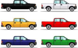 Set of six colored cars isolated on white. Detailed illustration of six colored cars in a flat style Stock Photo