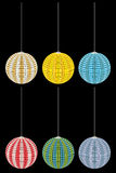 Set of six colored interior lamp Stock Photo