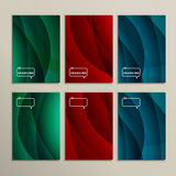Set of six colored wavy line backgrounds Stock Images