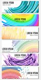 Set of six colorful abstract header banners with curved lines and place for text Royalty Free Stock Photos