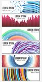 Set of six colorful abstract header banners with curved lines and place for text Royalty Free Stock Photography