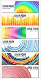 Set of six colorful abstract header banners with curved lines and place for text Royalty Free Stock Image