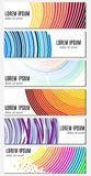 Set of six colorful abstract header banners with curved lines and place for text. Royalty Free Stock Images