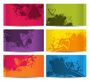 Six colorful cards with stains and hearts. Set of six colorful cards with stains and hearts Royalty Free Stock Image
