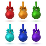 Set of six colorful Christmas balls. Royalty Free Stock Image