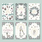 Set of six colorful Christmas cards stock photos