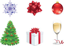 Set of six colorful christmas objects for web Royalty Free Stock Images