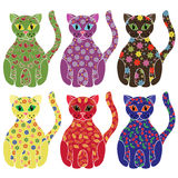 Set of six colorful funny cats over white Royalty Free Stock Image