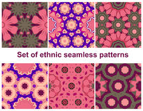 Set of six colorful geometric patterns. (seamlessly tiling).Seamless pattern can be used for wallpaper, pattern fills, web page background, surface textures Stock Photography