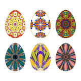 Set of six Colorful Hand-painted Easter eggs with Mandala patter Royalty Free Stock Photography