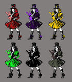 Set of six colorful illustrations of a gothic girl Stock Image