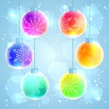 Set of six colorful rainbow Christmas balls Stock Images