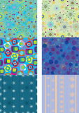 Set of six colorful seamless pattern Stock Images