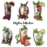 Set of six colorful sketches of different mojito cocktails Royalty Free Stock Images