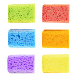Set of six colorful sponges Stock Photography