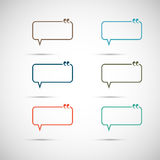Set of six colorful vector speech bubbles.  Royalty Free Stock Photography