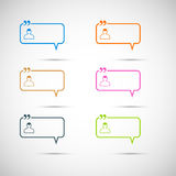 Set of six colorful vector speech bubbles.  Stock Image