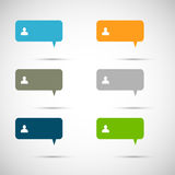 Set of six colorful vector speech bubbles.  Royalty Free Stock Image
