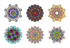 Set of Six Colourful Hand Drawn Mandalas, Oriental Decorative Element, Vintage Style.  Suitable for textile, fabric, packaging and Stock Images