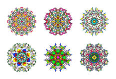 Set of Six Colourful Hand Drawn Mandalas, Oriental Decorative Element, Vintage Style. Stock Photography