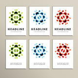 Set of six covers with abstract patterns Stock Image