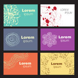 Set of six creative business card templates. With artistic vector design vector illustration