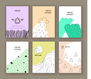 Set of six creative cards. Abstract design. Set of six creative cards. Abstract vintage design. Patterns for Placards, Posters, Flyers and Banner Designs Royalty Free Stock Images