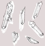 Set of six crystals Stock Image