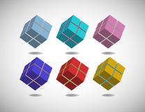 Set of six cubes Stock Photos
