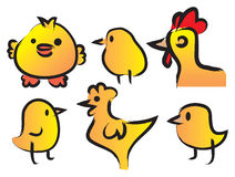 A Set of Six Cute Chickens Stock Photo