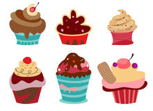 Set of six cute Cupcakes. Stock Image