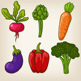 Set of six cute hand drawn vegetables Stock Image