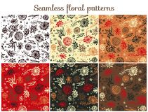 Set of six cute seamless floral patterns with doodle flowers. Vector illustration royalty free illustration