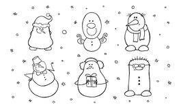 Set of six cute snowmen. Shy, complacent, hipster, surprised, happy and smiling characters. Vector illustration isolated on white Stock Photo