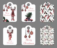 Set of six cute tags for New Year and Christmas holidays stock illustration