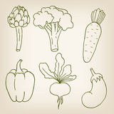 Set of six cute vegetables Royalty Free Stock Images