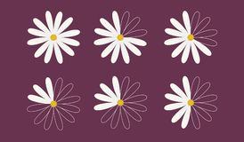Set of six daisy as pie diagrams. For a presentation or an infographic, 100, 75, 66, 50, 33 and 25 percents. Vector illustration. Nature theme Royalty Free Stock Images