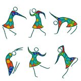 Set of six dancing female bodies. Set of six dancing abstract female bodies in colorful dresses isolated on the white background, vector illustration Royalty Free Stock Image