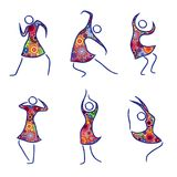 Set of six dancing female figures. Set of six dancing abstract female figures in colorful dresses isolated on the white background, vector illustration Stock Photos