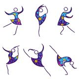 Set of six dancing women stock illustration