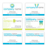 Set of six dental business cards. Set of six unique business cards suitable for dentists, dental hygienists and other dental companies Stock Photo