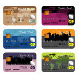 Set of six different credit cards. Six colorful credit cards isolated on a white background. Banking theme Stock Image