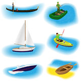 Set of six different kind boats isolated on a white background. Yacht, gondola, inflatable, kayak and rowing boat. Royalty Free Stock Images