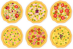 Set with six different pizzas on white background Stock Image