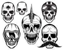 Set of six different skulls for design Royalty Free Stock Photography