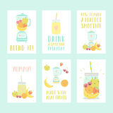 Set of six different smoothie cards Stock Photo
