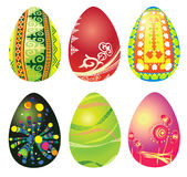 Set of six Easter eggs Stock Photos