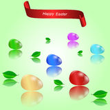 Set of six Easter eggs, leaves with reflection and red banner. Stock Photo
